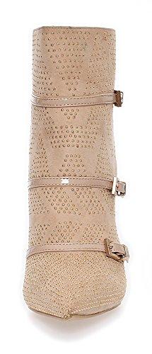 Damen Stiefeletten mit Nieten in 2 Farben, I716 Beige
