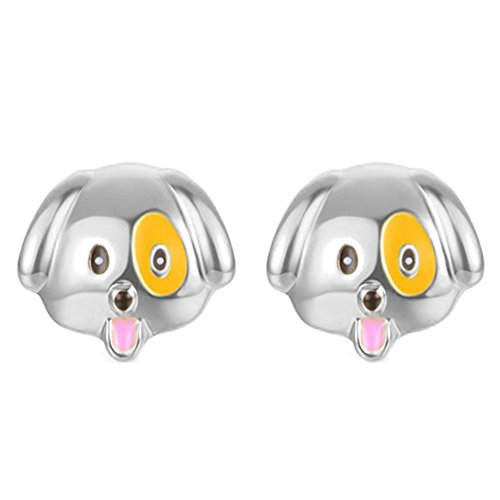 Lovely Gold Plated - 925 Sterling Silver &18K Gold Plated Lovely nifty emoji face puppy dog Women Girls Stud Earring (White)