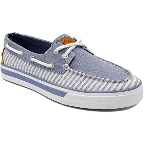 Nautica Men's Galley Lace-Up Boat Shoe,Two-Eyelet Casual Loafer, Fashion Sneaker-Blue Stripe-10.5 (Best Deodorant For Dancers)