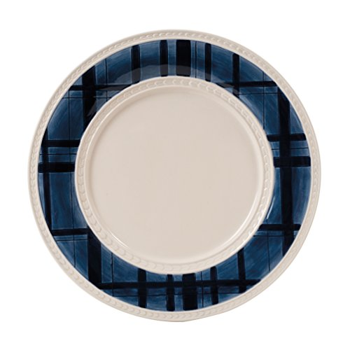 Bristol Collection, Indigo Tartan Dinner Plate, Royal Blue/White