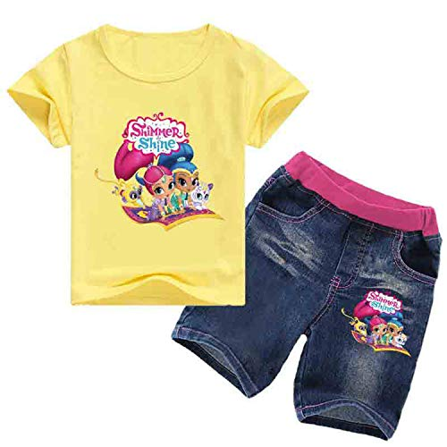 Pnfly Toddler Girls' Shimmer and Shine Short Sleeved T-Shirt Jeans Suit