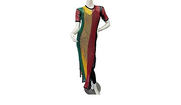 29b7e6bf63401 Dames: kleding Ladies Multicoloured Rasta Side Slit String Mesh Maxi Dress  Rihanna Free Size