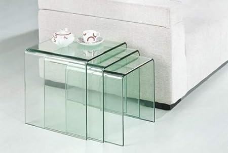 Design Beistelltisch 3 Er Set Aus Gebogenem Glas Dreisatztisch
