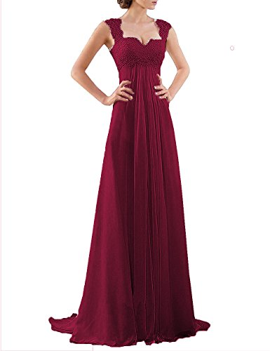 DYS Women's Empire Waist Bridesmaid Wedding Party Dress Lace Formal Evening Gown Burgundy US 14 -