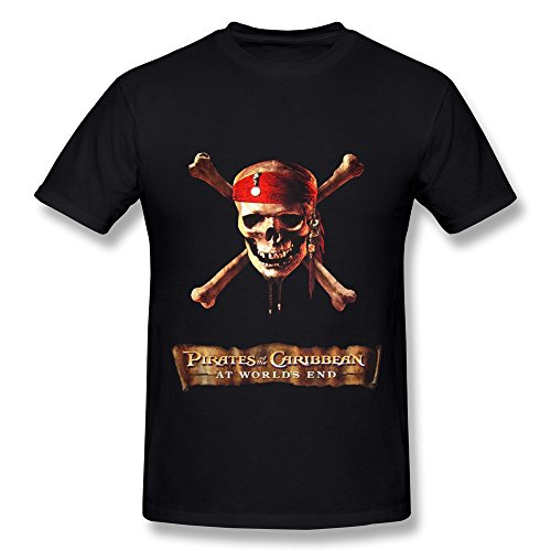 Men's Tshirts Cartoon Pirates Skull Cross Bones Size XXL Black