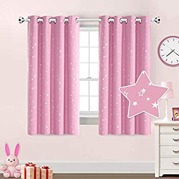 PrinceDeco Blackout Room Darkening Pink Stars Curtains for Girl's Bedroom Thermal Insulated Blackout Window Curtain Panels for Nursery, Antique Grommet Top, (1 Pair, 52 x 63 Inch, Pink)