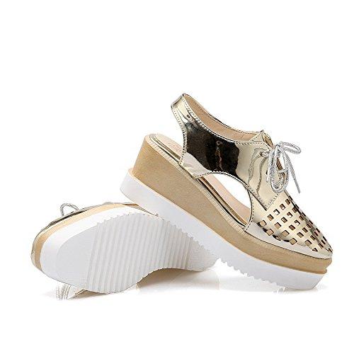 Amoonyfashion Mujer's Patent Leather Square-toe Kitten-heels Sandalias Sólidas Con Cordones Dorado