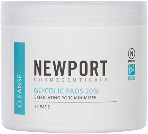 20% Glycolic Acid Pads and Exfoliating Face Cleansing Wipes for Targeted Adult Acne Treatment. Dermatological-Strength AHA in a Transformative Skin Peel for Face and Neck (Best Glycolic Peel Pads)