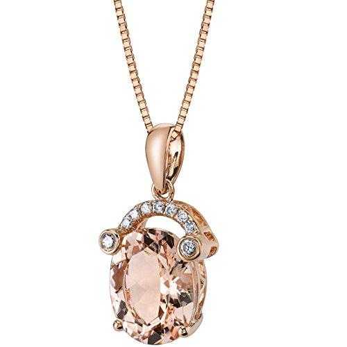 14K Rose Gold Morganite Diamond Pendant 2.50 Carats Oval Shape ()