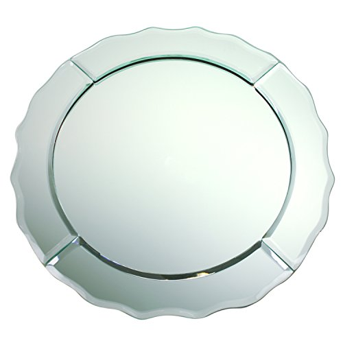 ChargeIt by Jay Scallop Edge Round 13-Inch Mirror Glass Charger Plate. - Round Glass Charger