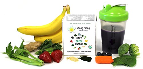 Kaeng Raeng Daily Green Energy - Organic, Caffeine Free Superfood Protein Powdered Drink Mix (7 ct)