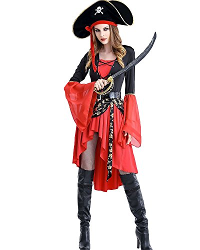 [Aifang Women's Halloween Costume Sexy Swashbuckler Pirate Costume Queen of the High Seas Adult Costume Cosplay L] (Sexy Swashbuckler Adult Womens Plus Size Costumes)