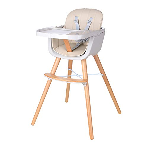 Foho Wooden High Chair, Perfect 3 in 1 Convertible Highchair with Cushion, Removable Tray, and Adjustable Legs for Baby & Toddler, Beige