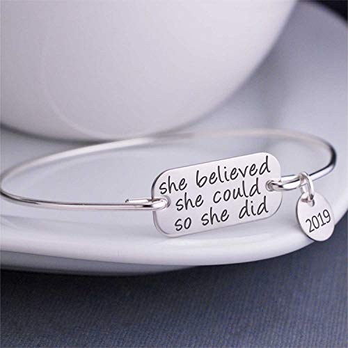 - She Believed She Could So She Did Bangle Bracelet 2019 Inspirational Jewelry Gift for Her Graduation Gift