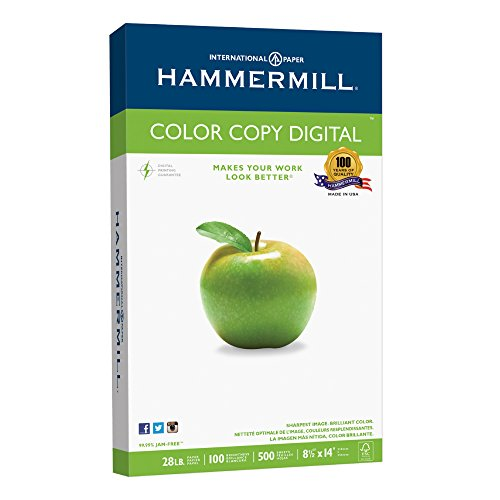 Hammermill Paper  Color Copy Digital  28Lb  8 5 X 14  Legal  100 Bright  500 Sheets   1 Ream  102475   Made In The Usa