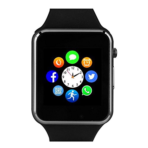 Smart Watch with Bluetooth Camera Music Player for IPhone (Partial Functions) Android Samsung HTC Sony LG HUAWEI Smartphones (Black)