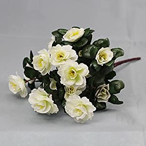 CLG-FLY Artificial Flower Bright Color Rhododendron Silk Flower for Wedding and Decorative,White794 47