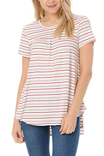 (Auliné Collection Womens Casual Ribbed Short Sleeve Pleated Babydoll T-Shirt Top Beige Red Stripe L)
