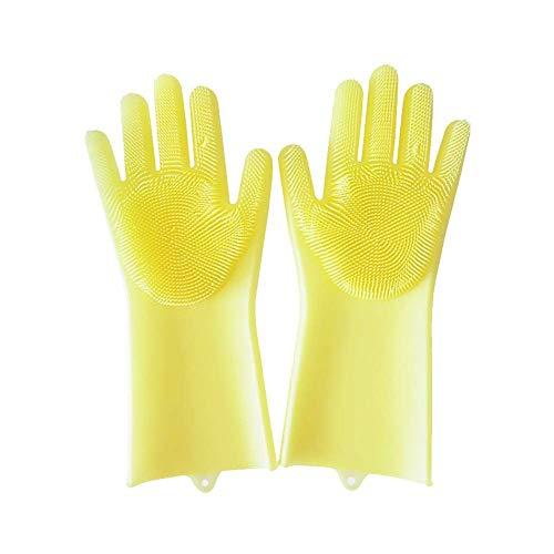 (certainPL Magic Reusable SakSak Silicone Cleaning Brush Gloves Heat Resistant Scrubber for Multipurpose - Kitchen, Bathroom, Dishwashing, Pet Care, Hair Care)