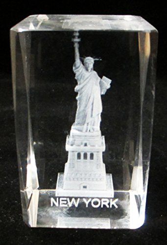 - New York Souvenir NYC Skyline 3D Clear Crystal Laser Etched Glass Paperweight with Statue of Liberty Large Size