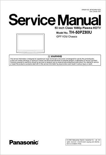 panasonic th 42pz700u plasma tv service manual