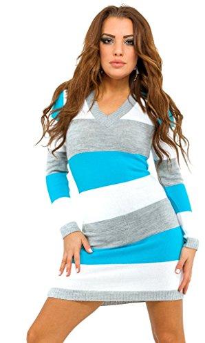 Glamour Empire. Damen Pulloverkleid Tunika Figurbetonender mit Streifen. 405 Türkis 2vGqbRg