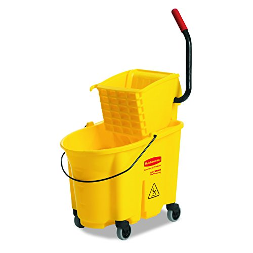 Rubbermaid Commercial Wavebrake Mopping System Bucket and Side-Press Wringer Combo, 35-quart, Yellow (FG758088YEL)