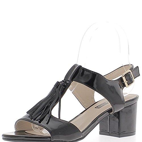 Pintado pequeño negro sandalias tacones altos espesor 6cm con bridas de ancho