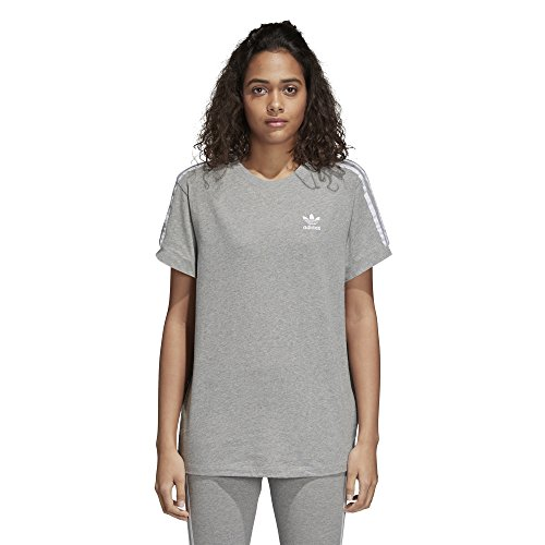 adidas Women's 3 Stripes Tee, Medium Grey Heather, M