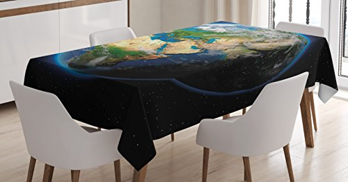 Ambesonne Earth Tablecloth, Vivid Earth Globe with Blue Seas Greenery Volumetric Clouds Science Theme, Dining Room Kitchen Rectangular Table Cover, 52 W X 70 L Inches, Blue Green Sand Brown