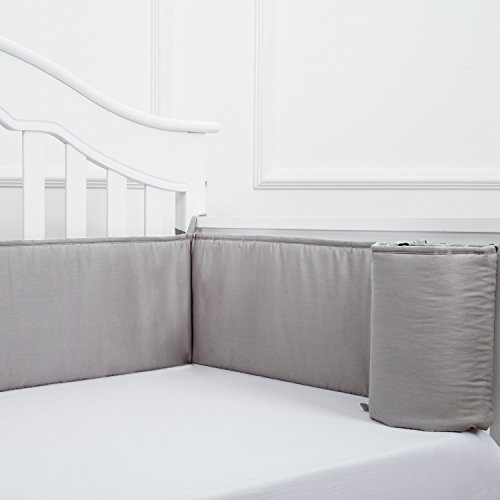 TILLYOU Baby Crib Bumper Pads for Standard Crib Slats Breathable Machine Washable Padded Crib Liner 100% Premium Woven Cotton 1-Piece Safe Bumper Guards Crib Padding, Gray by TILLYOU (Image #7)