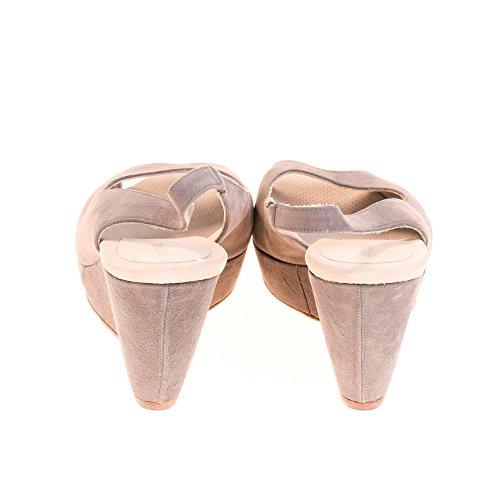 Lottusse Damen Wedges Keilabsatz Sandalen Leder Grau