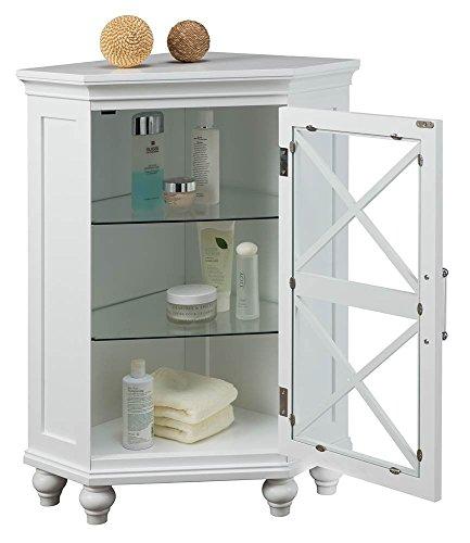 Elegant Home Fashions Blue Ridge Corner Floor Cabinet in White