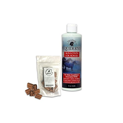 Best Rain Rot Treatment For Horses - Equiderma Skin Lotion Ring Worm, Scratch Treatment PLUS Mikes Instinct Munchies [BUNDLE Pack] - Addicting Apple Horse Treats & Horse Cannon Bone Scurf Relief (Rain Rot)