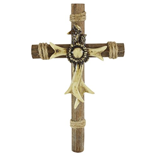 Pine Ridge 11 3/4 Inch Deer Antler Christian Faith Wall Cross - Religious Catholic Wall Art with Wood Look Base and Twine Accents Lodge Cabin Decor - Home Decor Baptism Gift and Confirmation Favors