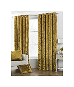 "DEEP Pile Crushed Velvet Ochre Gold Lined 66"" X 54"" - 168CM X 137CM Ring TOP Curtains Drapes"