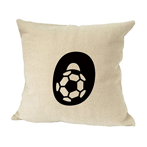 ''O '' Soccer Initial Monogram Letter O Bed Home Decor Faux Linen Pillow Cover by Style in Print