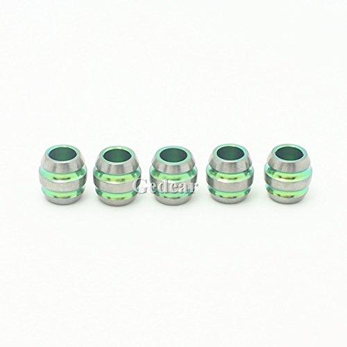 (TIKING 5pcs 12mm Titanium Barrel Shape Knife Key Jewelry Parachute Cord Bead Pendant Lanyard-Green)