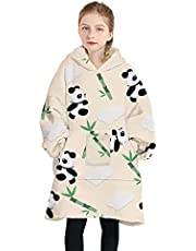 Blanket Hoodie, Oversized Wearable Sweatshirt Blankets Soft Flannel Plush for Adults Women Men Teenagers Cozy Warm Giant Hooded Snuggle Sweater with Front Pocket Cow