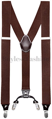 Buyless+Fashion+Mens+48%22+Elastic+Adjustable+1+1%2F2%22+Suspenders+In+Y+Shape+-+Brown