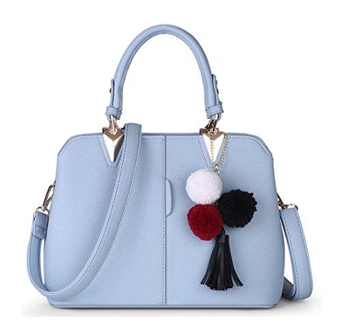 et Porté Bleu EPAULE MAIN Keshi Pu Sac femmes à Ciel Frais main 88qAS6