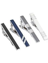 Mens Tie Bar Clip 2.1 Inch, Silver-Tone, Black, Gray