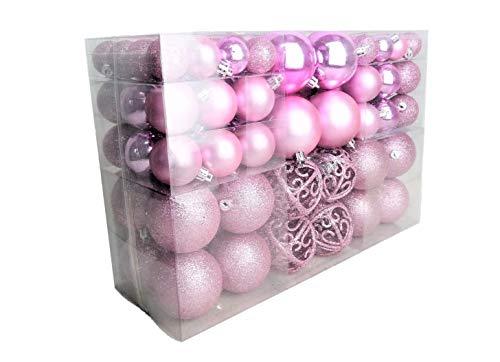 Geschenkestadl – Lote de 100 bolas de Navidad, color rosa brillante, mate, hasta 6 cm de diámetro
