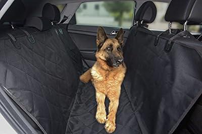 HupAndPup Pet Seat Cover for Cars, SUVs, and Trucks: Black Blanket, Waterproof, Non-Slip, Anti-Scratch Hammock or Bench Seat Pad/Mat plus 2 Pet Safety Belts