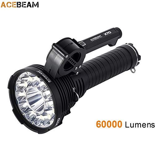 (AceBeam X70 Powerful Flashlight 12 CREE XHP70.2 + 1 CREE XHP35 max 60000 lumen throw 1115M big torch with Battery pack)