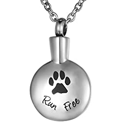 "VALYRIA Engraving ""Run Free"" Dog/Pet Paw Cremation Urn Pendant Memorial Ash Keepsake Necklace"