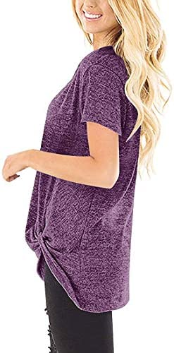 Womens Tops Casual Long Sleeve Twist Knot Solid Tunic T Shirts Fall Clothes