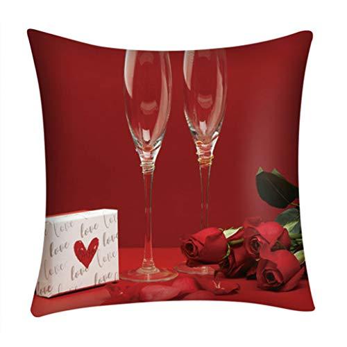 scamper Pillow Case Red Love 45X45cm Pillowcase Cover Home Decor Happy Valentine's Day Covers Fiber Sofa Car Cushion