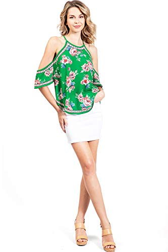 Flying Tomato Women's Boho Style Flowy Cold Shoulder Blouse (M, Green) (Flying Tomato Blouse)