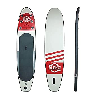 Image of ALEKO PBS04 Inflatable Paddle Board with Carry Bag - Red and Gray Stand-Up Paddleboards